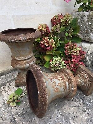 Pair large Antique French Cast Iron Rusty Silver URNS Jardinieres Pots Planters