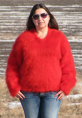 MOHAIR Hand Knitted RED Sweater Fluffy Fuzzy Pullover Unisex Handmade Cosy Soft
