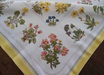 Vintage Printed Cotton Tablecloth Germany Wildflowers Yellow Floral German 41""