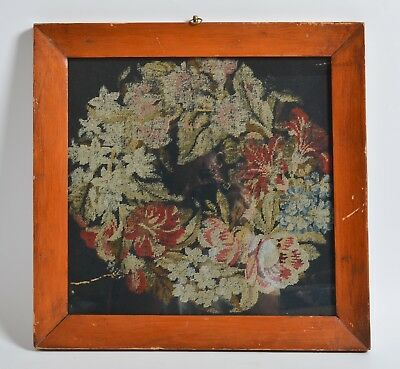 Antique Victorian Woolwork wool work embroidery floral FLOWERS red painted frame