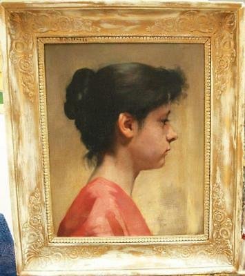 19th Century FRENCH IMPRESSIONIST Portrait Study Young Lady Antique Oil Painting