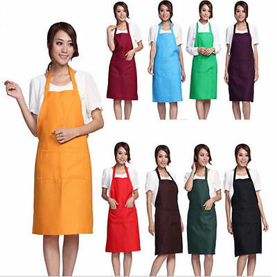 Women Solid Cooking Kitchen Restaurant Bib Apron Dress with Pocket Gift FT