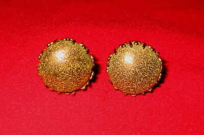 "Pair of Vintage 3/4"" clip on Button Earrings by MIRIAM HASKELL vgc"