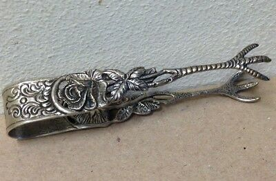 "Vintage Silver Sugar Tongs 835 Rose floral claw feet intricate 3"" European 2198"