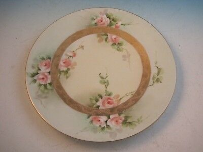 """Jean Pouyat Limoges Hand Painted Artist Signed 8 3/8"""" Plate Pink Roses"""