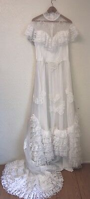 Vintage 1970s Victorian Edwardian Wedding Dress Lace Tiered Train M L
