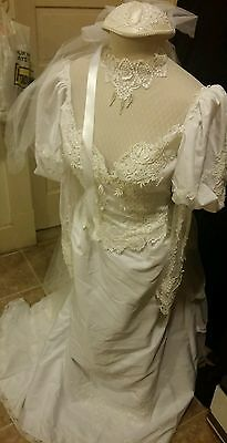 Vintage wedding dresses bridal gowns sz 4 Ivory Organza & Wht Lace Alfred Angelo