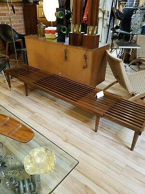 mid century modern slat bench brown-saltman saltman vtg chair john keal seating