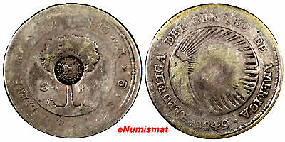 Costa Rica Silver 1849  2 Reales Countermarked 1849  San Jose Mint  Type VI