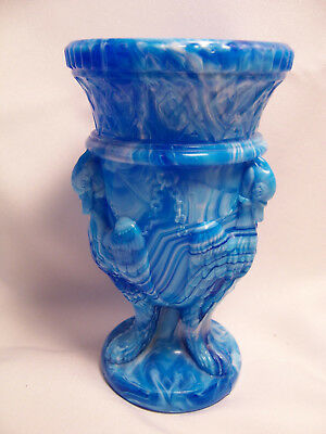 Edward Moore Turquoise/Blue Slag Glass Griffin Vase c.1880 - English