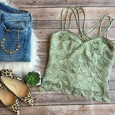 Vintage Crochet Lace Bustier Crystal Trim Strappy Crop Top Womens S
