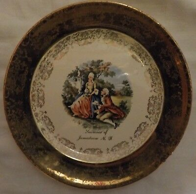 Vintage Jamestown, NY. Souvenir Plate 7 1/4 Inches / Crest-o-Gold by Sabin / 22K