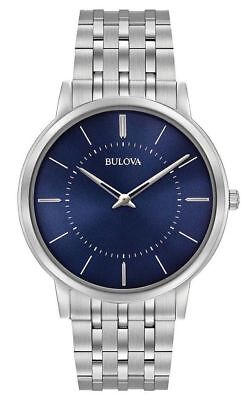 Bulova 96A188 Blue Dial Silver Stainless Band Watch
