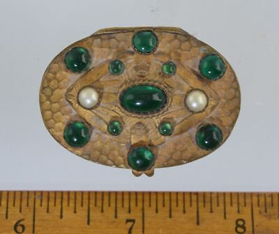 Antique JEWELED CZECH/FRENCH PILL BOX w/Mirror Art Deco Brass Hammered