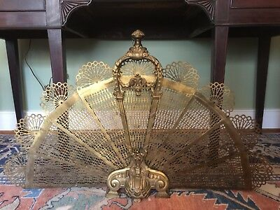 "19thC FRENCH BRONZE & BRASS FOLDING FAN FIRE SCREEN ANTIQUE 34"" Wide 21"" Tall"
