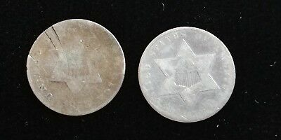 Silver 3 Cent (Lot of 2) 1853 & 1859 (Date is Difficult to See)
