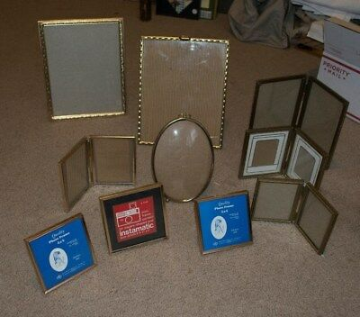 Vintage Lot Of 10 Ornate Embossed Gold Tone Brass Metal Picture Photo Frame