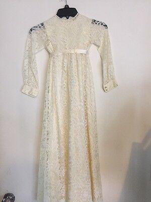 VTG 2 PC Handmade LACE CREAM Satin FABRIC CHRISTENING GOWN DRESS 3-4 Years