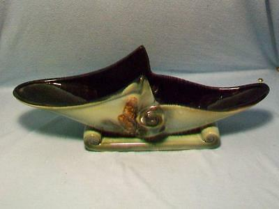 Hull Pottery Green Black Parchment Console Vase