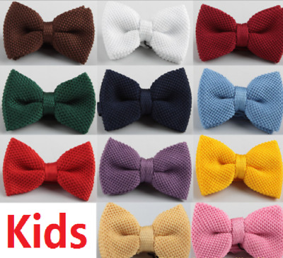 Kids PRE-TIED WEDDING EVENT PROM KINTTED BOW TIE CLIP UK