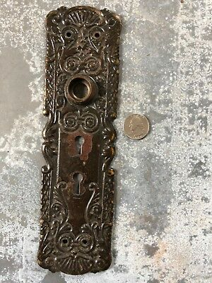 Vintage fancy ornate Victorian stamped brass door knob entry back plate old