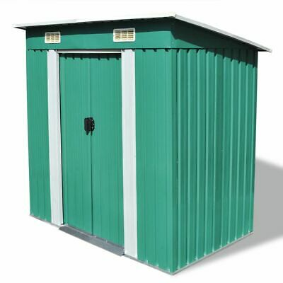 vidaXL Garden Shed Green Metal Outdoor Patio Storage Organiser House Cabin
