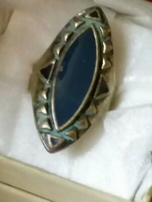 Vintage Unique Art Deco Style Blue Enamel Navette Shaped Brass Ring Size 8