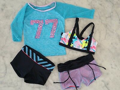 NWT California Kisses dance wear 4 piece girl child's size L(12) & XL(14)