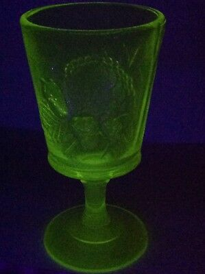 "Vintage LG Wright Yellow Vaseline Glass 6 1/2"" Water Goblet-Strawberry&Current"