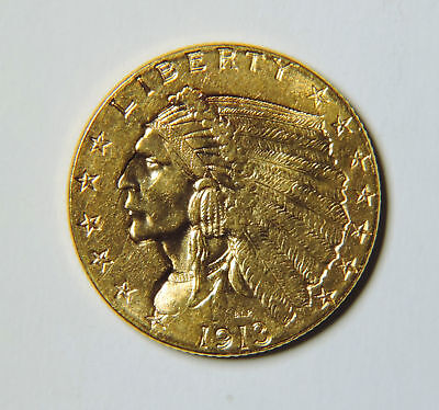 1913 US $2.5 Dollar Indian Head Quarter Eagle GOLD Coin UNC Uncirculated