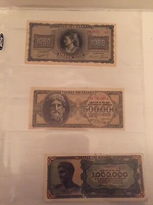 Lot Of 3 Pieces Of Currency From Nazi Occupied Greece