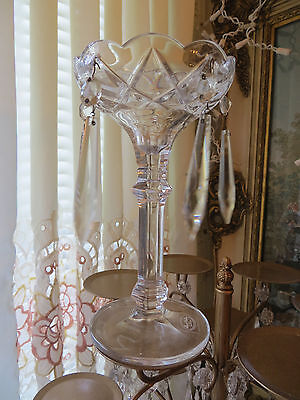 """Royal Gallery Crystal Prisms Candle Holder 7 1/2 X 4"""" Czech Republic"""