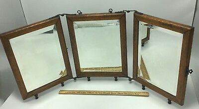 Antique Travel Shaving Table Wall Mirror Trifold Wood Oak Frame Beveled Glass