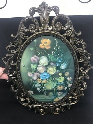 "VINTAGE VICTORIAN STYLE METAL FRAMED FLORAL WALL HANGING~MADE IN ITALY~13""x10"""