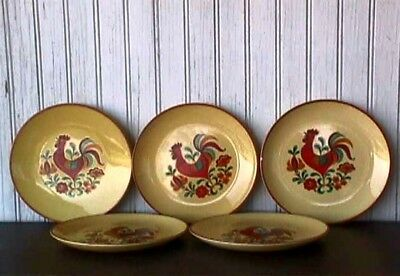 "**reveille Rooster (5) 6 5/8"" B&b Plates Taylor, Smith & Taylor Uw28-G"