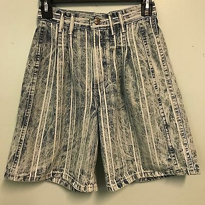 Vintage 80's High Waist CHIC 6 Striped Pleated Indie Blue White Womens Shorts