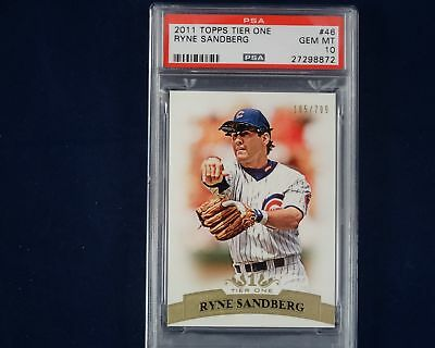 2011 Topps Tier One Cubs HOF 2nd Baseman RYNE SANDBERG #185/799 #46 PSA 10 POP 1