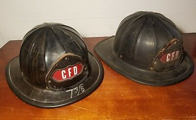 Pair of (2) Vintage - Antique Cairnes & Bro Fire Helmets - CFD Fire Dept
