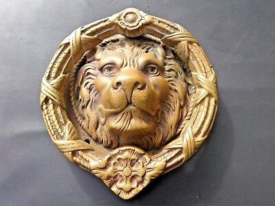 "Large 8"" Antique Vintage Solid Brass MGM Studios Lion Head Door Knocker"