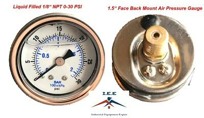 "Liquid Filled 1.5"" Face 0-30 PSI Air Pressure Gauge Back Mount 1/8"" NPT"