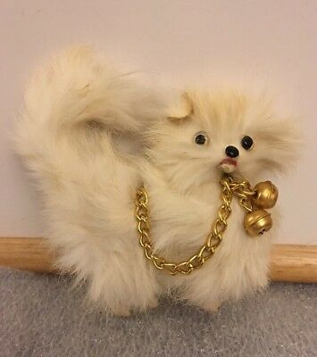 Vintage  Dog Figure Real White Fur And Leather? Great Antique Doll Prop