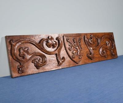 *Vintage French Panel in Solid Oak Wood w/Coat of Arms
