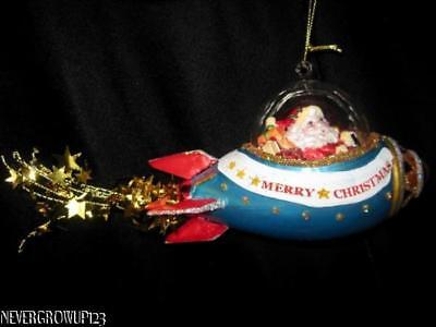 """SANTA CLAUS IN SPACESHIP GLASS ORNAMENT 4.5/"""" Rocket Shuttle Christmas Tree NEW"""