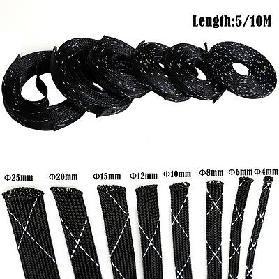 10M High Density Tight Braided Tubing PET Nylon Expandable Cable Wire Sleeving W