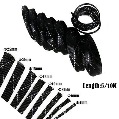 10M Tight High Density Braided PET Nylon Expandable Cable Wire Sleeving Sleeve T