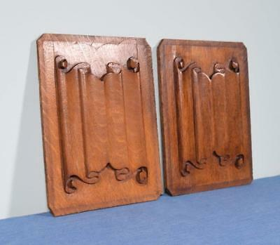 *Pair of Vintage Gothic Revival Solid Oak Wood Panels w/Linen Fold Carvings