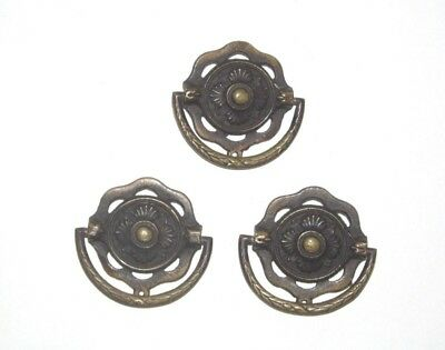 "3 Brass Drawer Pulls Handles Ornate 2 1/4"" Antique Keeler KBC G-459 G-345"