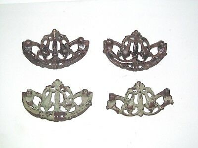 "4 Victorian Brass Drawer Handle Pulls 3.5"" Antique Ornate Dresser Eastlake Part"