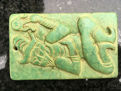 5,000 year old FOOL TAROT CARD LIKENESS MADE IN GREEN DYED STONE ? Hongshan Cult