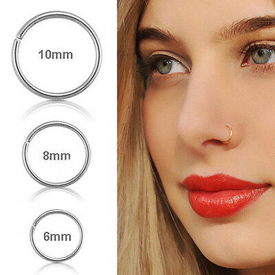 2pcs FAKE NOSE RING HOOP SEPTUM RING CARTILAGE TRAGUS HELIX CONCH DAITH EARRING